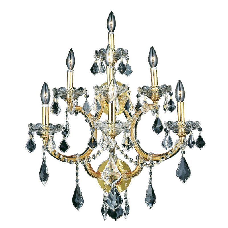 Elegant Lighting Maria Theresa 7 Light Gold Wall Sconce Clear Elegant Cut Crystal (2800W7G/EC)