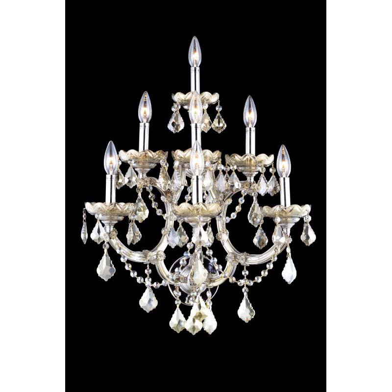 Elegant Lighting Maria Theresa 7 Light Golden Teak Wall Sconce Golden Teak (Smoky) Royal Cut Crystal (2800W7GT-GT/RC)