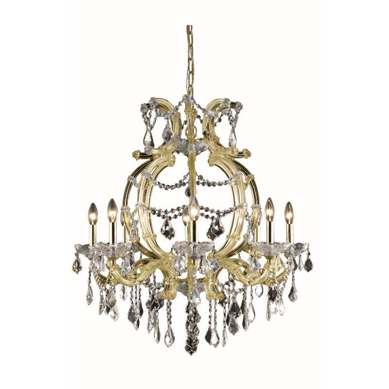 Elegant Lighting Maria Theresa 8 Light Gold Chandelier Clear Elegant Cut Crystal (2800D28G/EC)