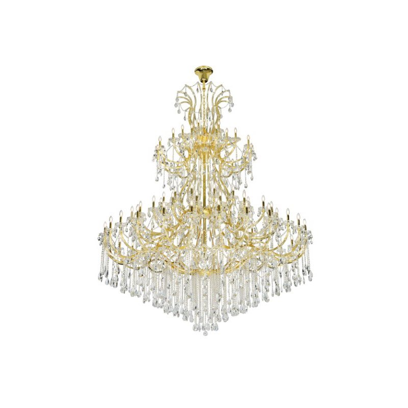 Elegant Lighting Maria Theresa 84 Light Gold Chandelier with clear tear drop crystals Clear Elegant Cut Crystal (2803G120G/EC)