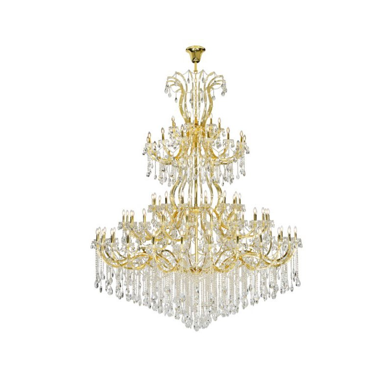 Elegant Lighting Maria Theresa 84 Light Gold Chandelier with clear tear drop crystals Clear Spectra Swarovski Crystal (2803G120G/SA)