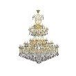 Elegant Lighting Maria Theresa 84 Light Gold Chandelier with Silver Shade tear drop crystals Silver Shade (Grey) Royal Cut Crystal (2803G120G-SS/RC)