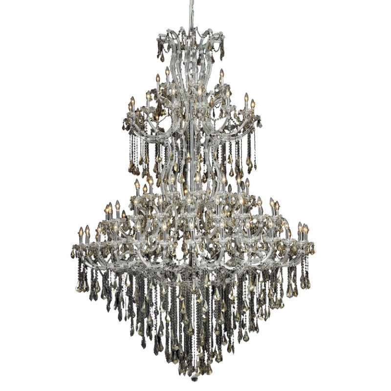 Elegant Lighting Maria Theresa 85 Light Chrome Chandelier Golden Teak (Smoky) Royal Cut Crystal (2801G96C-GT/RC)
