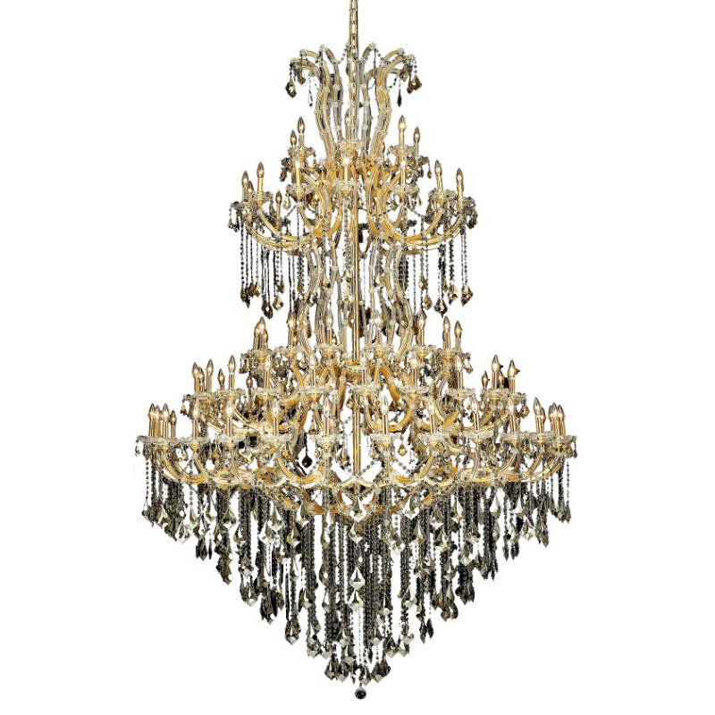 Elegant Lighting Maria Theresa 85 Light Gold Chandelier Golden Teak (Smoky) Royal Cut Crystal (2800G96G-GT/RC)