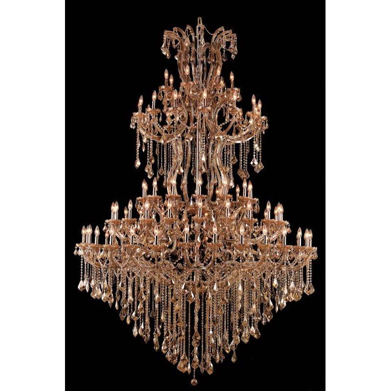Elegant Lighting Maria Theresa 85 Light Golden Teak Chandelier Golden Teak (Smoky) Royal Cut Crystal (2800G96GT-GT/RC)