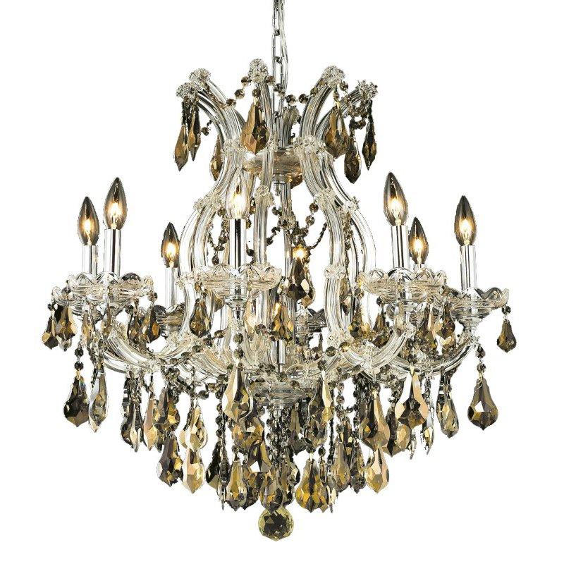 Elegant Lighting Maria Theresa 9 Light Chrome Chandelier Golden Teak (Smoky) Royal Cut Crystal (2801D26C-GT/RC)