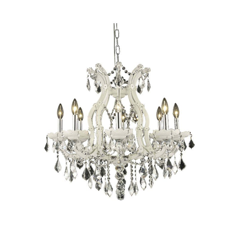 Elegant Lighting Maria Theresa 9 Light white Chandelier Clear Elegant Cut Crystal (2800D26WH/EC)
