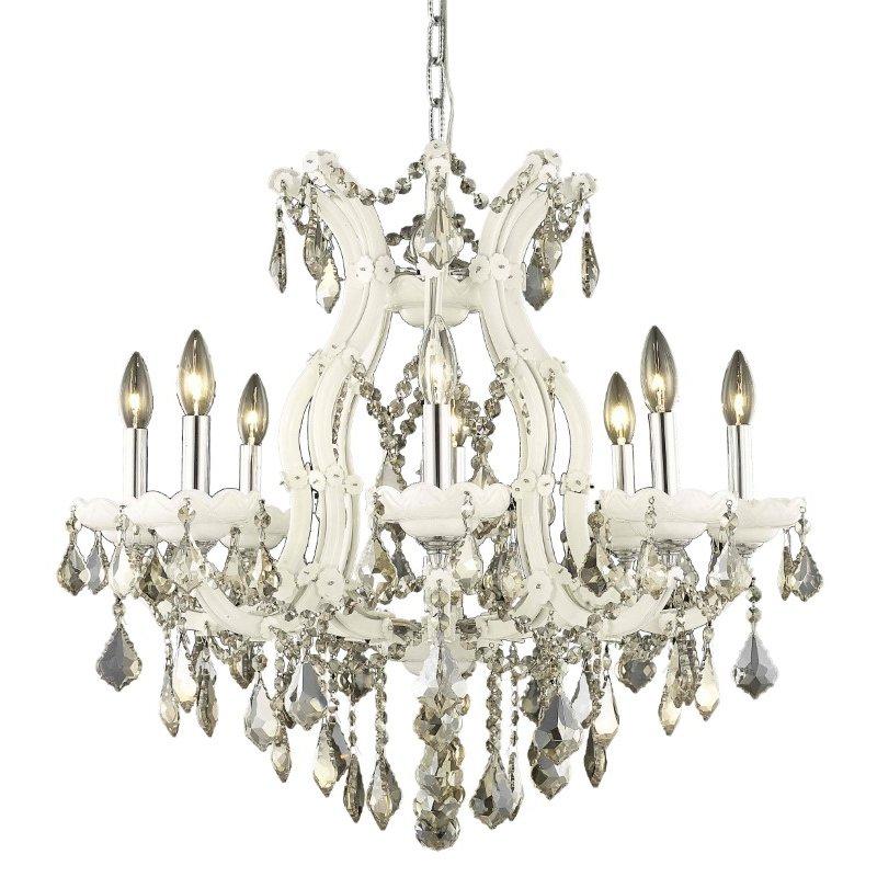 Elegant Lighting Maria Theresa 9 Light white Chandelier Golden Teak (Smoky) Swarovski Elements Crystal (2800D26WH-GT/SS)