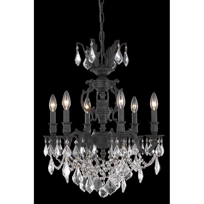 Elegant Lighting Marseille 6 Light Dark Bronze Chandelier Clear Elegant Cut Crystal (9506D20DB/EC)