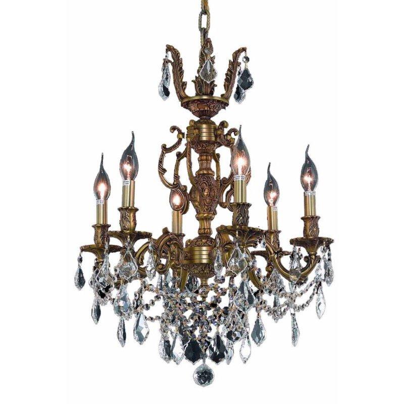 Elegant Lighting Marseille 6 Light French Gold Chandelier Clear Swarovski Elements Crystal (9506D20FG/SS)