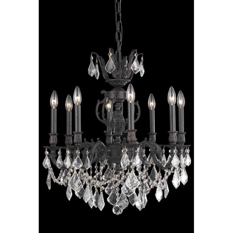Elegant Lighting Marseille 8 Light Dark Bronze Chandelier Clear Royal Cut Crystal (9508D24DB/RC)