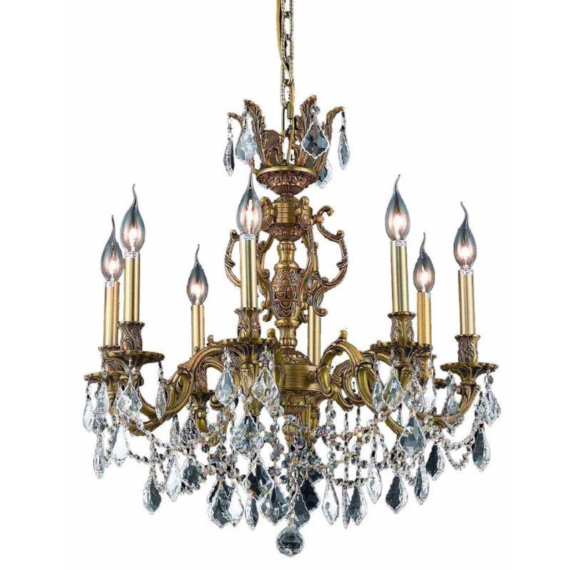 Elegant Lighting Marseille 8 Light French Gold Chandelier Clear Spectra Swarovski Crystal (9508D24FG/SA)