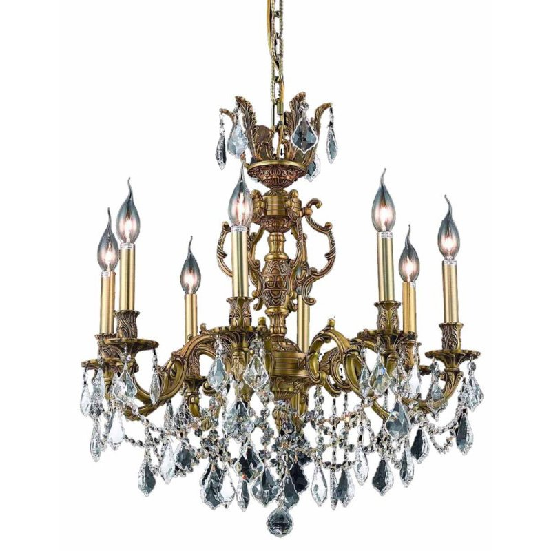 Elegant Lighting Marseille 8 Light French Gold Chandelier Clear Swarovski Elements Crystal (9508D24FG/SS)