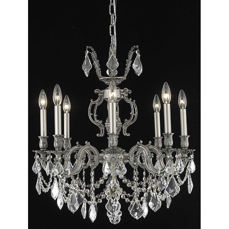Elegant Lighting Marseille 8 Light Pewter Chandelier Clear Royal Cut Crystal (9508D24Pw/RC)