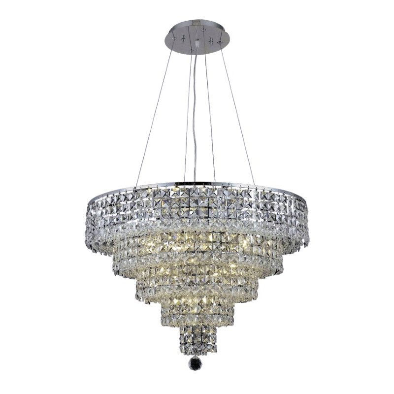 Elegant Lighting Maxime 14 Light Chrome Chandelier Clear Spectra Swarovski Crystal (2037D26C/SA)
