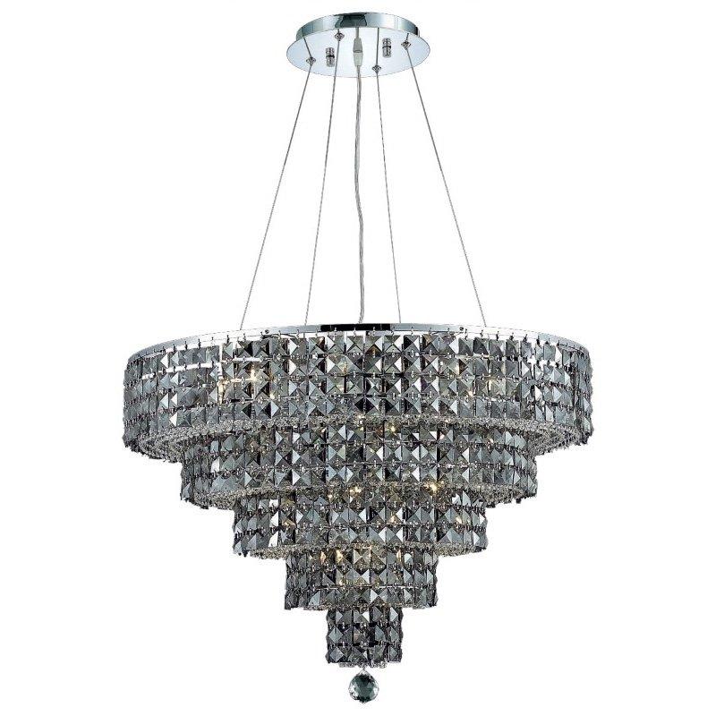 Elegant Lighting Maxime 14 Light Chrome Chandelier Silver Shade (Grey) Swarovski Elements Crystal (2037D26C-SS/SS)