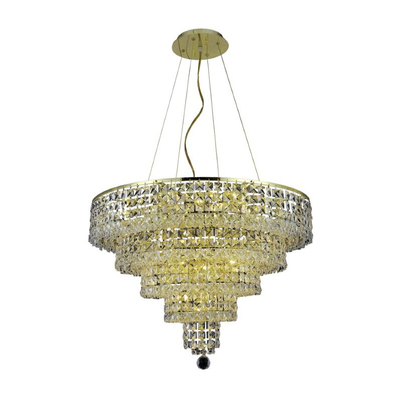 Elegant Lighting Maxime 14 Light Gold Chandelier Clear Royal Cut Crystal (2037D26G/RC)