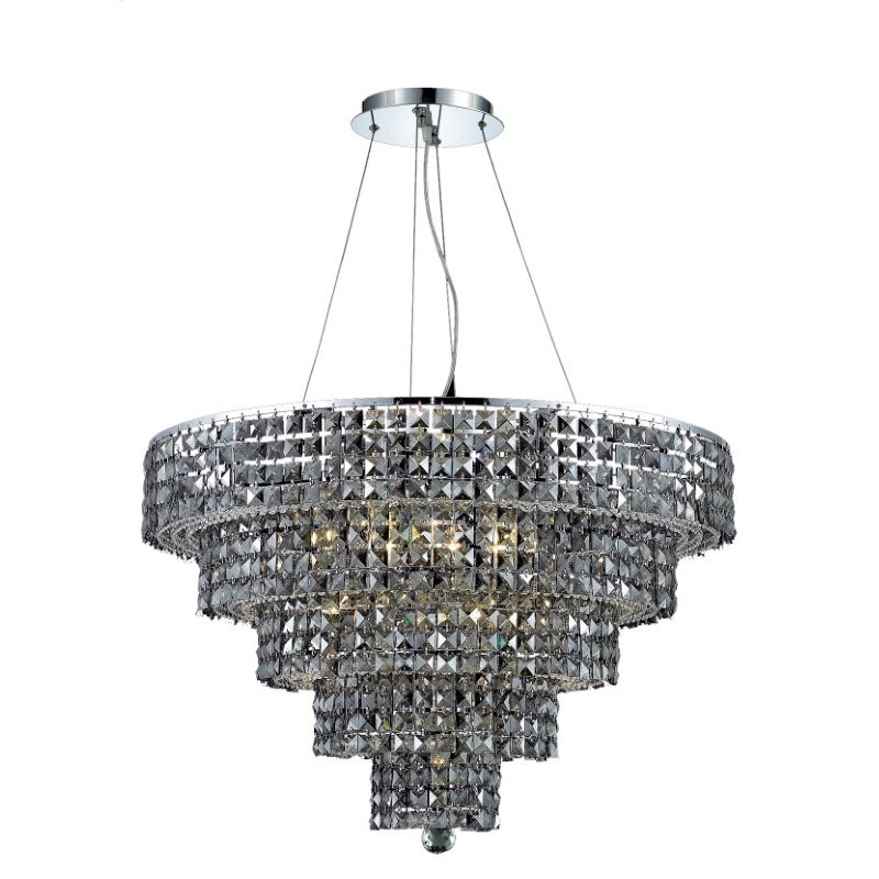Elegant Lighting Maxime 17 Light Chrome Chandelier Silver Shade (Grey) Swarovski Elements Crystal (2037D30C-SS/SS)