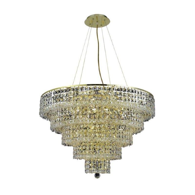 Elegant Lighting Maxime 17 Light Gold Chandelier Clear Elegant Cut Crystal (2037D30G/EC)