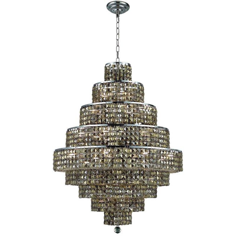 Elegant Lighting Maxime 20 Light Chrome Chandelier Golden Teak (Smoky) Swarovski Elements Crystal (2039D30C-GT/SS)