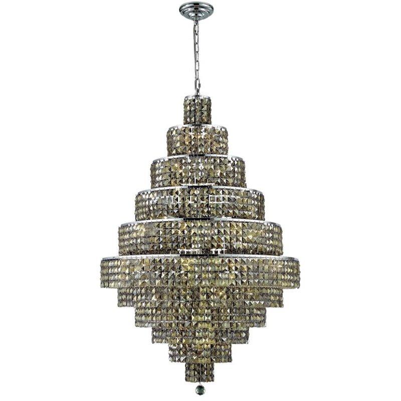 Elegant Lighting Maxime 30 Light Chrome Chandelier Golden Teak (Smoky) Royal Cut Crystal (2039D32C-GT/RC)