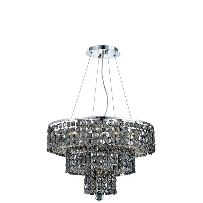 Elegant Lighting Maxime 9 Light Chrome Chandelier Silver Shade (Grey) Royal Cut Crystal (2037D20C-SS/RC)