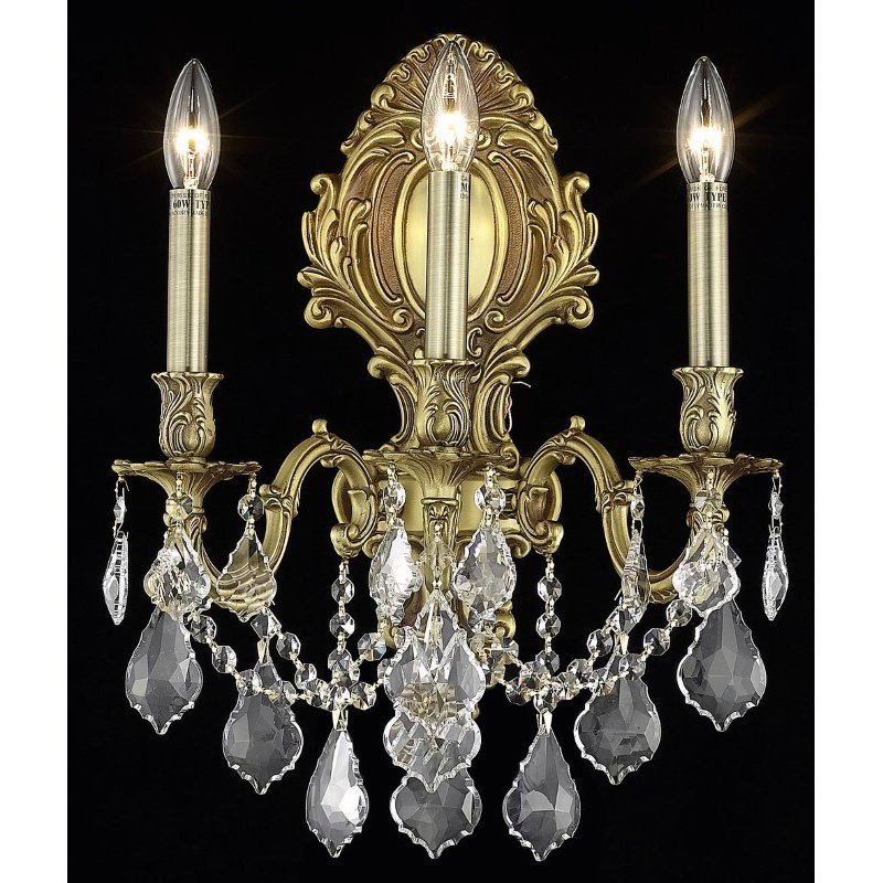 Elegant Lighting Monarch 3 Light French Gold Wall Sconce Clear Spectra Swarovski Crystal (9603W14FG/SA)