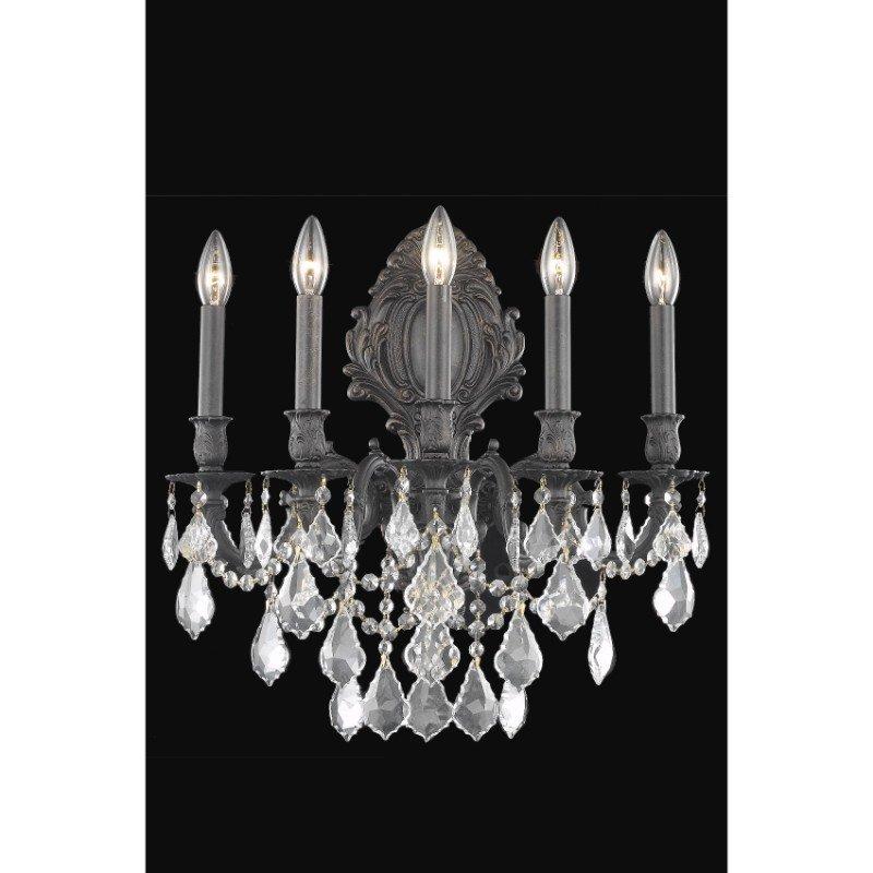 Elegant Lighting Monarch 5 Light Dark Bronze Wall Sconce Clear Elegant Cut Crystal (9605W21DB/EC)