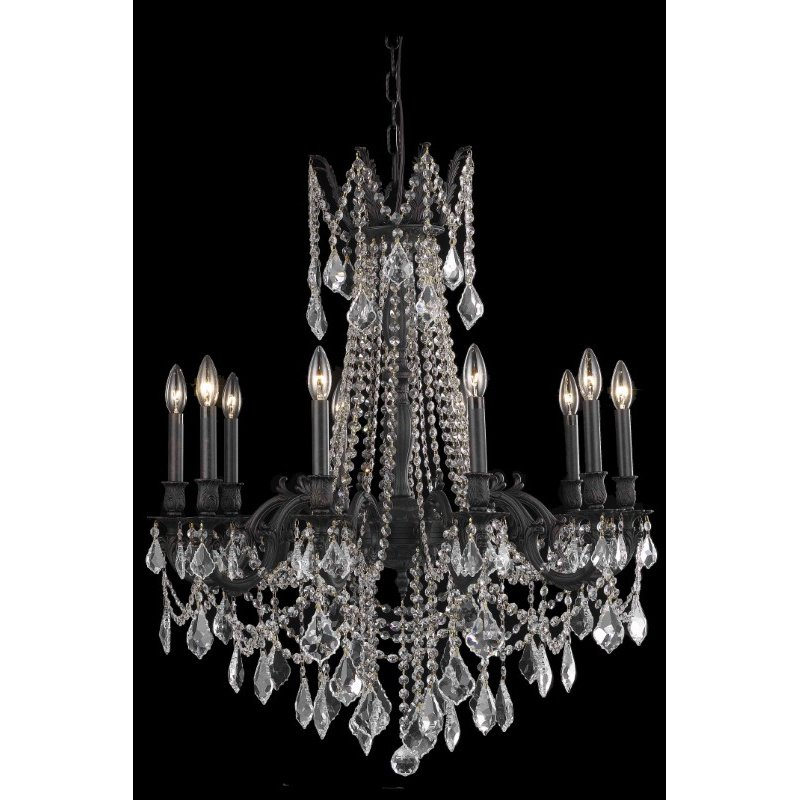 Elegant Lighting Rosalia 10 Light Dark Bronze Chandelier Clear Royal Cut Crystal (9210D28DB/RC)