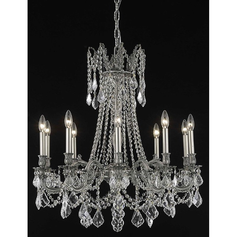 Elegant Lighting Rosalia 10 Light Pewter Chandelier Clear Elegant Cut Crystal (9210D28Pw/EC)