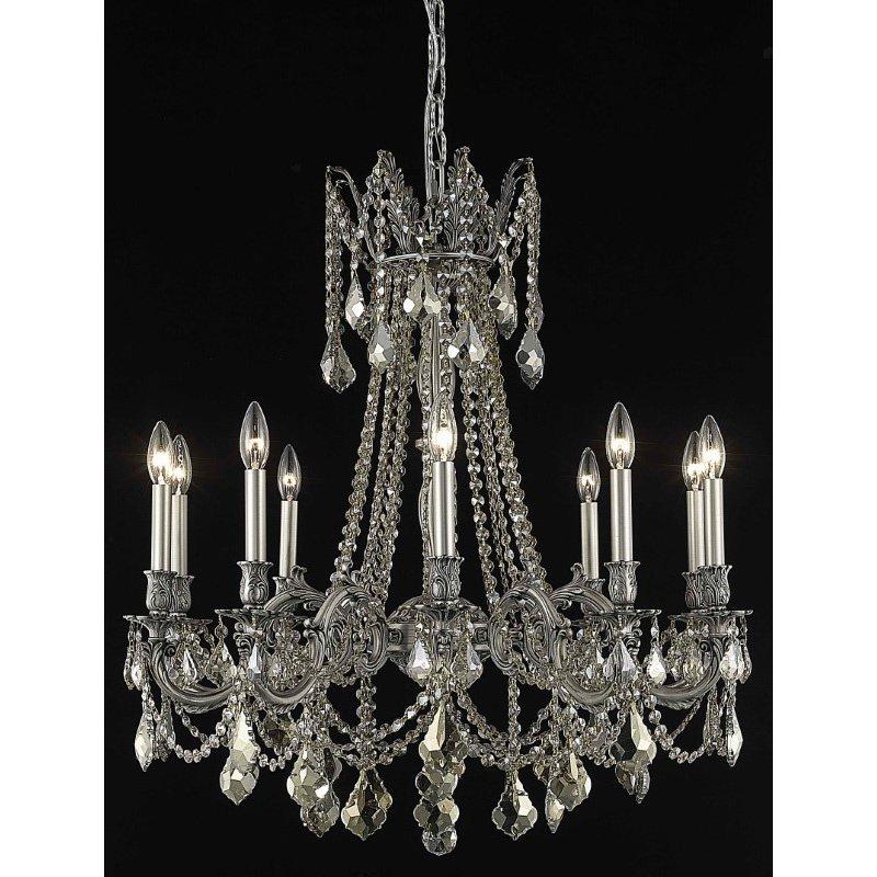 Elegant Lighting Rosalia 10 Light Pewter Chandelier Golden Teak (Smoky) Swarovski Elements Crystal (9210D28PW-GT/SS)
