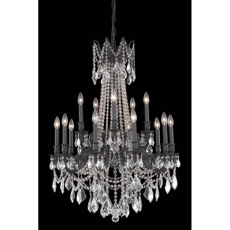 Elegant Lighting Rosalia 15 Light Dark Bronze Chandelier Clear Royal Cut Crystal (9215D28DB/RC)