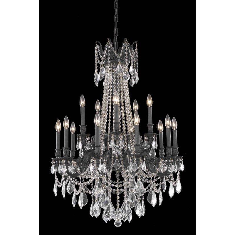 Elegant Lighting Rosalia 15 Light Dark Bronze Chandelier Clear Swarovski Elements Crystal (9215D28DB/SS)