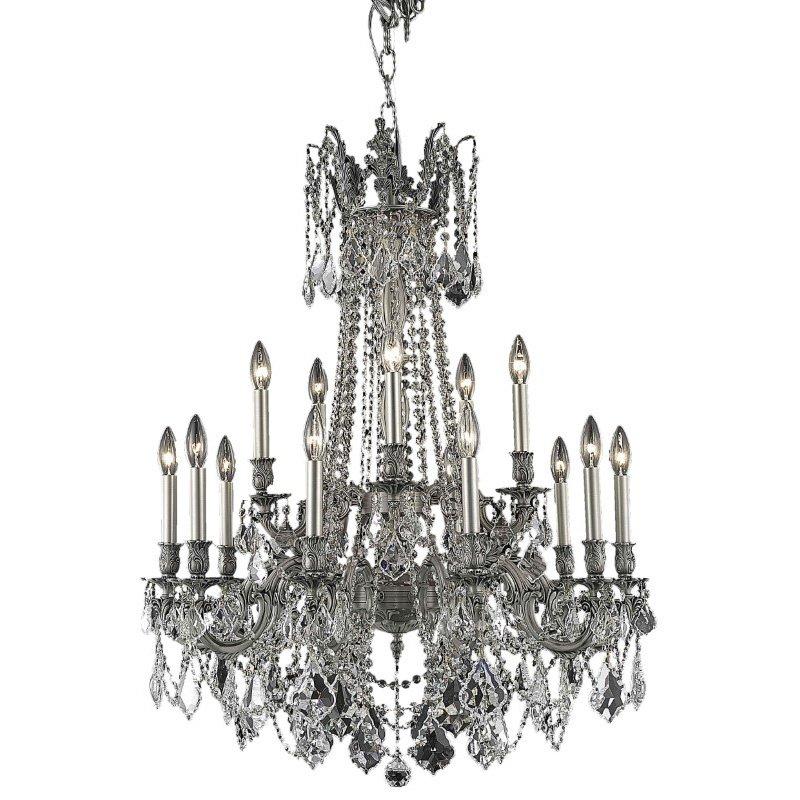 Elegant Lighting Rosalia 15 Light Pewter Chandelier Clear Royal Cut Crystal (9215D28Pw/RC)