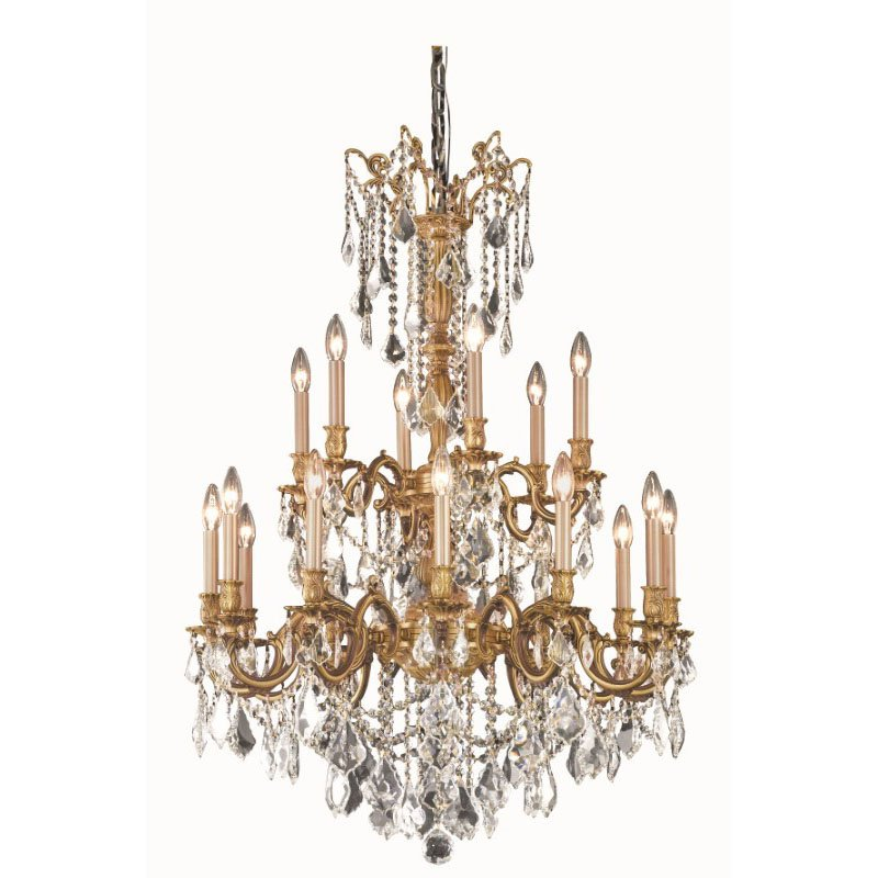 Elegant Lighting Rosalia 18 Light French Gold Chandelier Clear Spectra Swarovski Crystal (9218D32FG/SA)