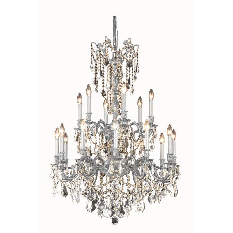 Elegant Lighting Rosalia 18 Light Pewter Chandelier Clear Swarovski Elements Crystal (9218D32Pw/SS)