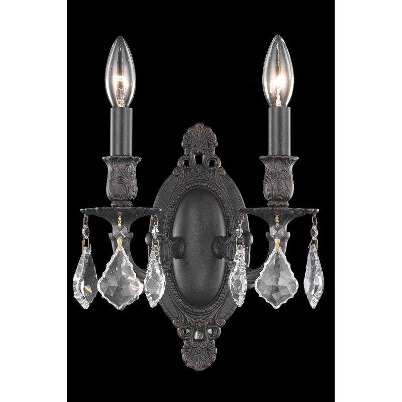 Elegant Lighting Rosalia 2 Light Dark Bronze Wall Sconce Clear Royal Cut Crystal (9202W9DB/RC)