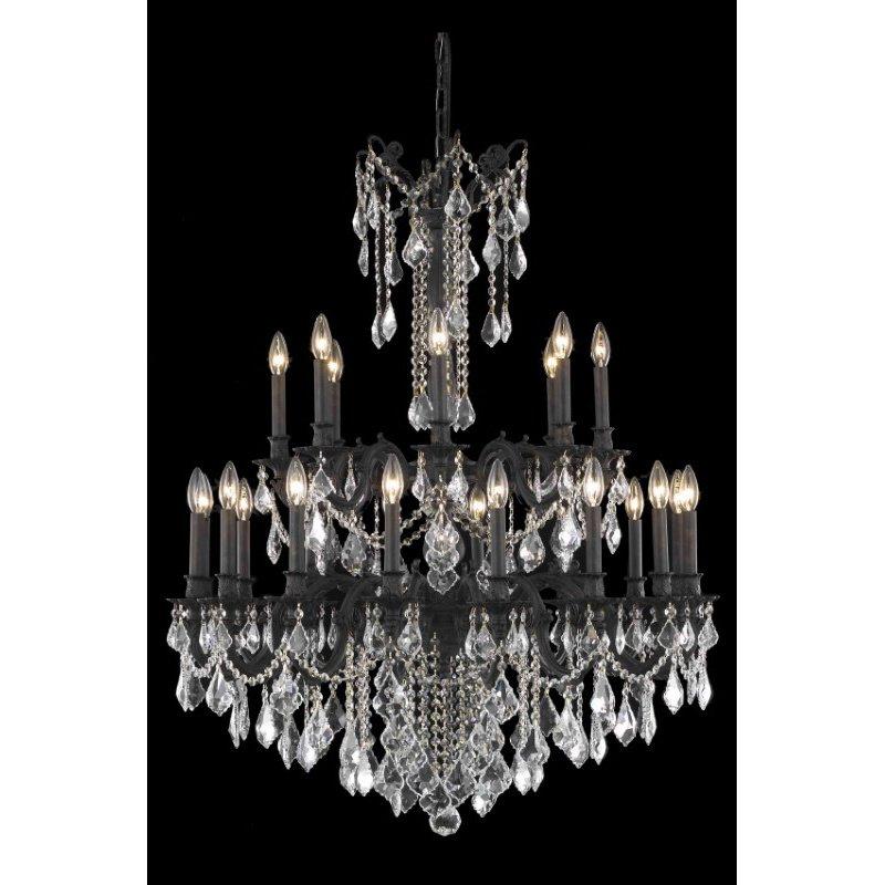 Elegant Lighting Rosalia 24 Light Dark Bronze Chandelier Clear Spectra Swarovski Crystal (9224G36DB/SA)