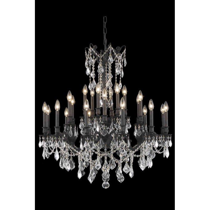 Elegant Lighting Rosalia 24 Light Dark Bronze Chandelier Clear Swarovski Elements Crystal (9224D36DB/SS)