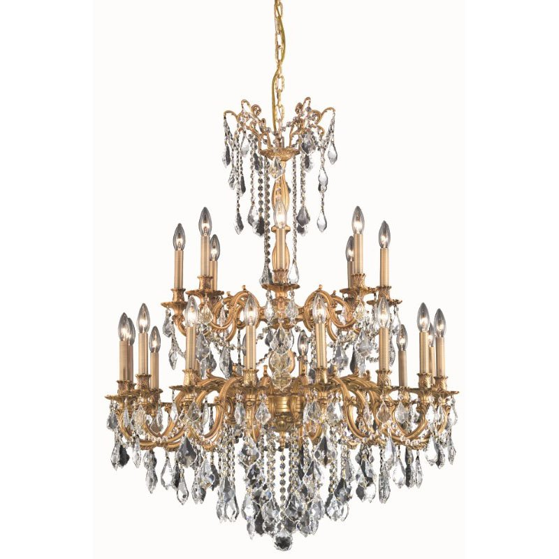 Elegant Lighting Rosalia 24 Light French Gold Chandelier Clear Royal Cut Crystal (9224G36FG/RC)