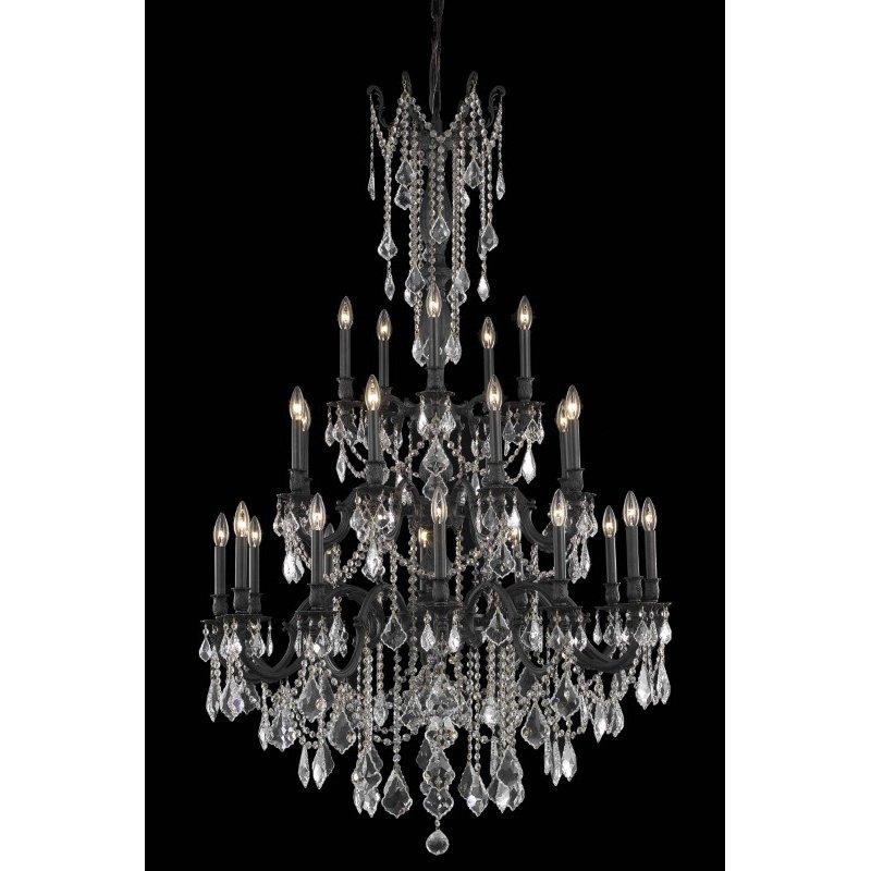 Elegant Lighting Rosalia 25 Light Dark Bronze Chandelier Clear Spectra Swarovski Crystal (9225G38DB/SA)