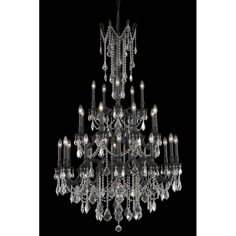 Elegant Lighting Rosalia 25 Light Dark Bronze Chandelier Golden Teak (Smoky) Swarovski Elements Crystal (9225G38DB-GT/SS)