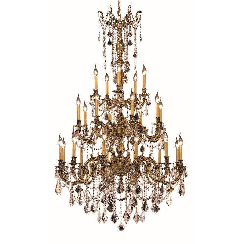 Elegant Lighting Rosalia 25 Light French Gold Chandelier Clear Spectra Swarovski Crystal (9225G38FG/SA)