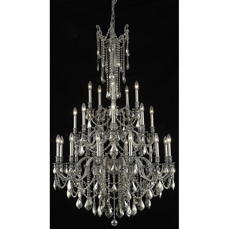Elegant Lighting Rosalia 25 Light Pewter Chandelier Golden Teak (Smoky) Swarovski Elements Crystal (9225G38PW-GT/SS)