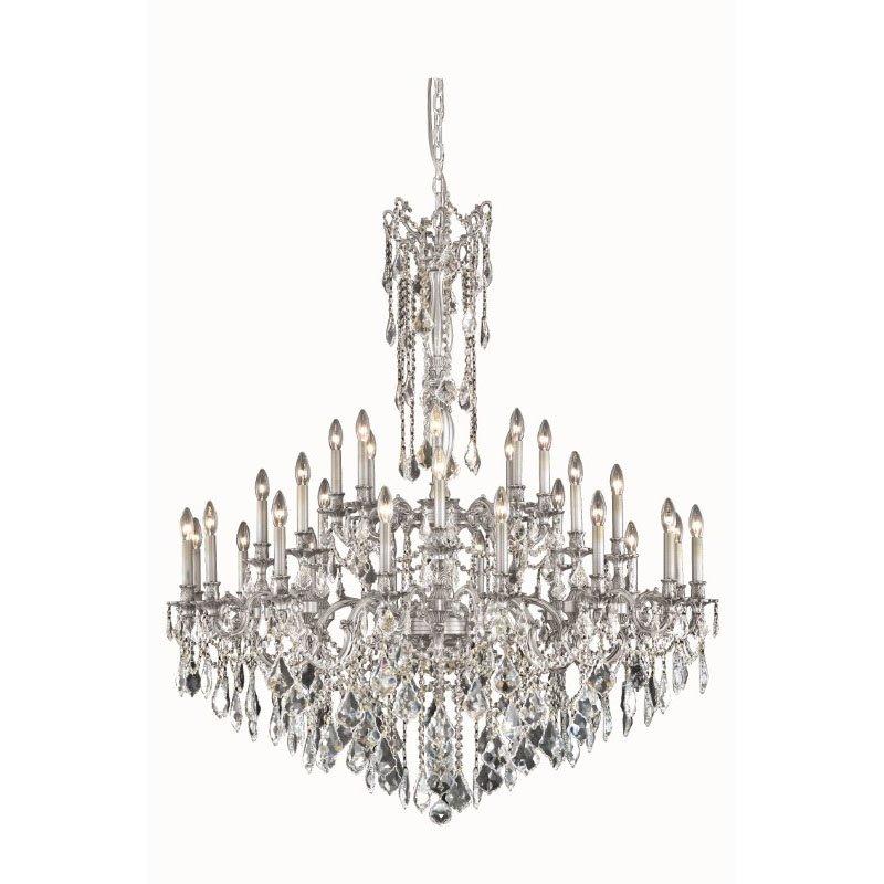 Elegant Lighting Rosalia 32 Light Pewter Chandelier Clear Royal Cut Crystal (9232G48Pw/RC)