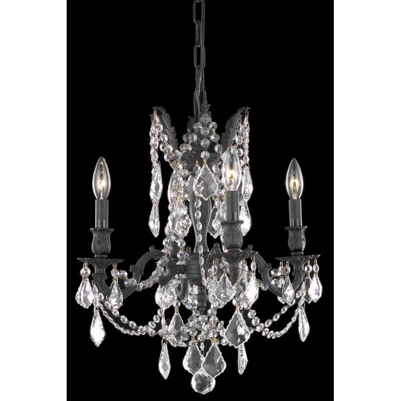 Elegant Lighting Rosalia 4 Light Dark Bronze Pendant Clear Royal Cut Crystal (9204D17DB/RC)