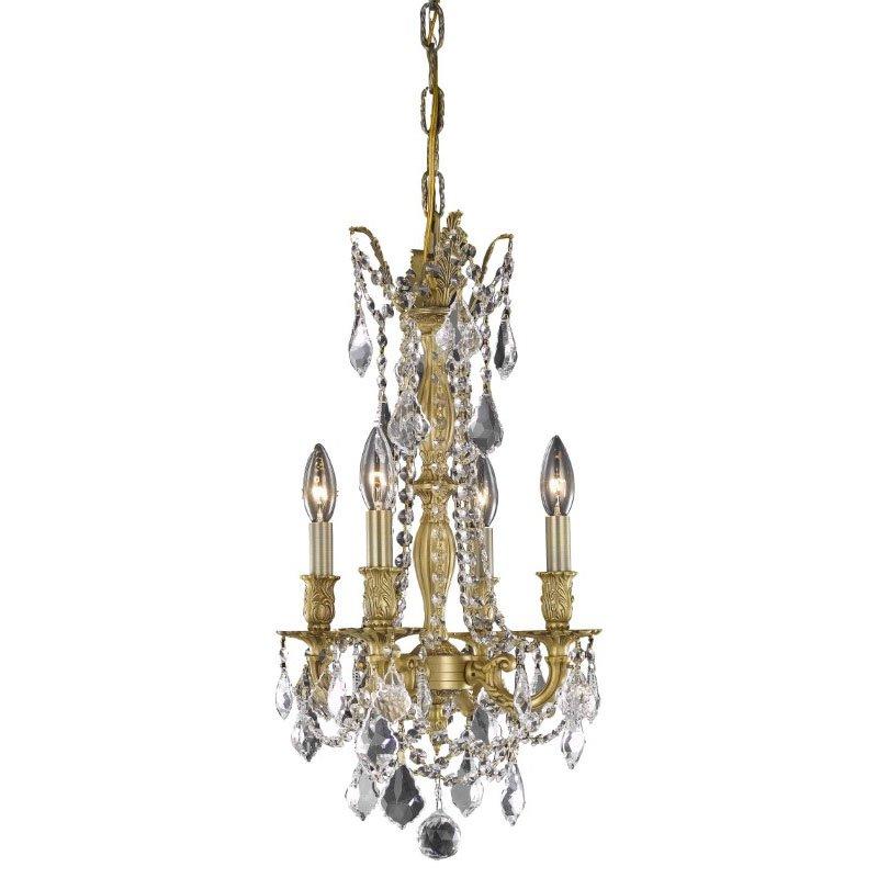 Elegant Lighting Rosalia 4 Light French Gold Pendant Clear Royal Cut Crystal (9204D10FG/RC)