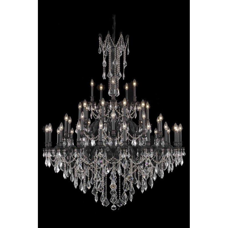 Elegant Lighting Rosalia 45 Light Dark Bronze Chandelier Clear Royal Cut Crystal (9245G54DB/RC)