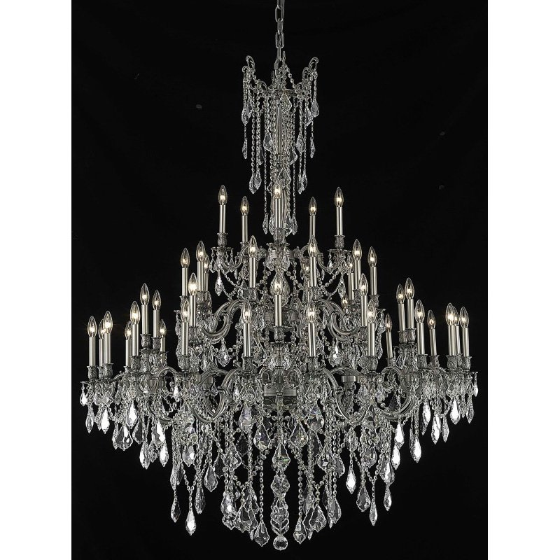 Elegant Lighting Rosalia 45 Light Pewter Chandelier Clear Elegant Cut Crystal (9245G54Pw/EC)