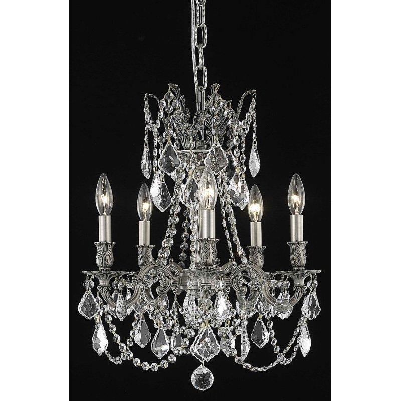 Elegant Lighting Rosalia 5 Light Pewter Pendant Clear Swarovski Elements Crystal (9205D18Pw/SS)